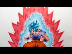Ryo.K☆Drawing Goku SSB Kaioken ×10/孫悟空 SSB 界王拳10倍 描いてみた - YouTube