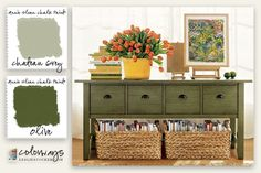 Colorways with Leslie Stocker » In The Mood. Console inspires moody greens. Annie Sloan Chalk Paint®. Olive, Chateau Grey