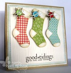 Good Tidings - sweet stockings and a touch of country with the button and stars tied on with twine - kraft card for the base and sweet blue and white background on the front - diy Christmas card.