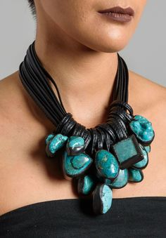 Monies 14 Strand Turquoise Necklace • 14 Leather Strands • Ebony and Leather Closure • Turquoise Set in Copper • One-Of-A-Kind • Heavy Weight