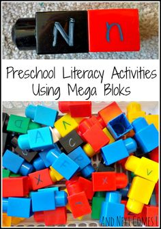 5 literacy activities for toddlers & preschoolers using Mega Bloks from And Next Comes L