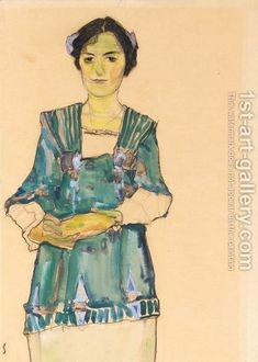 80% off a Hand Made Oil Painting Reproduction of Madchen Mit Gestreifter Bluse (Girl With Striped Blouse), one of the most famous paintings by Egon Schiele. Free certificate of authenticity free shipping.