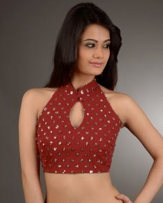 #Exclusivelyin, #IndianEthnicWear, #IndianWear, #Fashion, Sequin Embellishe Red Halter Neck Blouse