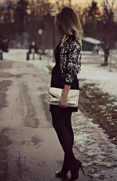 metallic clutch and sequin jacket holiday style