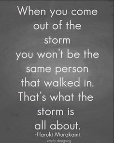 On storms....