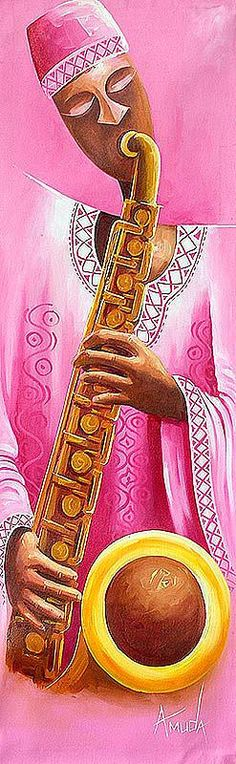 'The Trumpeter,' Original Musician Painting from #Africa.
