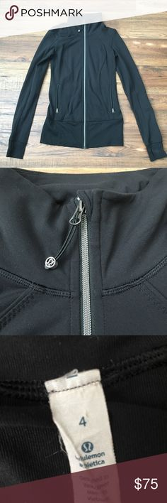 Lululemon Track Jacket Black, stretchy Lululemon track jacket. It has been worn (but not for working out - ha!) Willing to accept offers! lululemon athletica Jackets & Coats