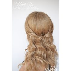 Easy half-up twist hairstyle tutorial HAIR ROMANCE via Polyvore featuring hair
