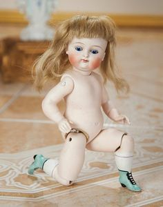 German All-Bisque Miniature Doll with Rare Jointed Knees