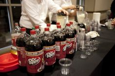 Wedding reception idea: Dr Pepper floats. #sicem // This is from the most #Baylor Proud wedding ever; click for more pictures, including the wedding party with Judge Baylor, the BU groom's cake, and on-campus engagement pics.