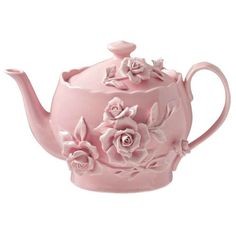 Pink Pottery Teapot with Roses in Relief ....