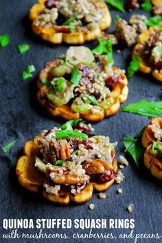 Quinoa stuffed delicata squash rings with mushrooms, cranberries, and ...