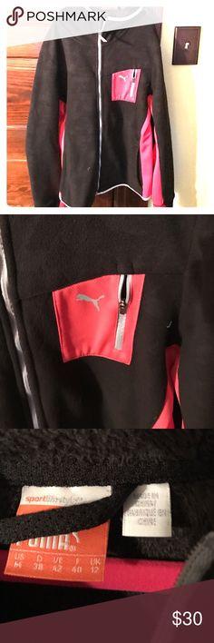 Puma Jacket Black and coral warm cell Puma Fleece jacket. Hardly worn. Size M Puma Jackets & Coats