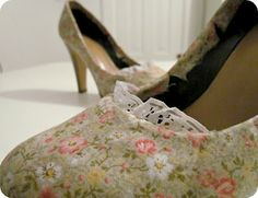 Who knew you could mod podge fabric to revamp shoes! :)