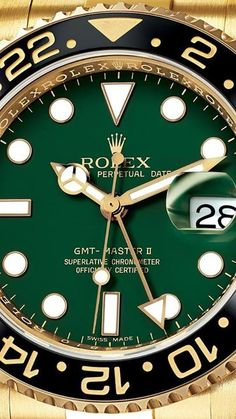 Rolex Yellow Gold Rolex GMT Master II with Green Dial