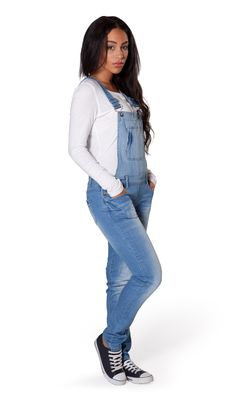 Womens Skinny Fit Pale Wash Denim Dungarees from Dungarees Online. #overalls #dungarees #fashion #distresseddenim