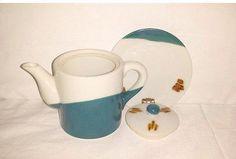 Vintage Blue & Brown Pottery,Stoneware Teapot,Blue,Rust,Teapot and Underplate,Pottery,Stoneware, Southwestern Teapot, Rustic, Primative by JunkYardBlonde on Etsy