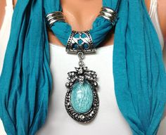 blue jewelry scarf - light teal blue wrinkle jewelry scarf with very pretty big pendant Christmas gift or for you NEW SEASON Scarf Necklace, Fabric Necklace, Scarf Jewelry, Beaded Necklace, Gypsy Punk, Teal Blue Color, Designer Scarves, Light Teal, Polymer Clay Jewelry