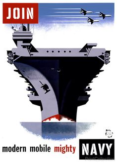 This Navy poster shows the bow of an aircraft carrier from 1957 but has the look that it could have been made in the 1980's. It was created by artist Joseph Binder in order to encourage recruitment an