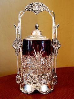 Victorian Antique Pickle Castor Ruby Tarentum Atlanta Crystal Jar Van Bergh s Z Red Glass, Glass Art, Vintage Silver, Antique Silver, Art Nouveau, Brides Basket, Crystal Stemware, Pickle Jars, Cranberry Glass
