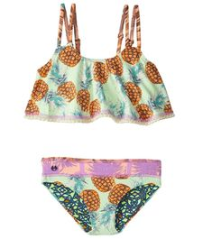 If your girl loves to twirl, let her swim in a flowy top that imitates the feel of a skirt. The Maaji Girls' Shamrock Cream Pineapple Raffle Bikini Set features a fluttered top with a ruffled trim and a reversible bottom. Plus, she'll enjoy the popping contrast prints throughout the suit.