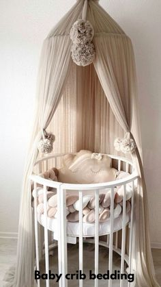 Baby Canopy, Baby Crib Bedding, Baby Bedroom, Baby Boy Rooms, Baby Room Decor, Baby Cribs, Canopy Over Crib, Princess Crib Bedding, Tulle Canopy