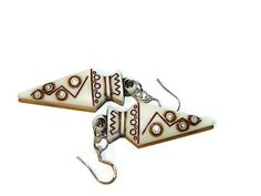 Triangle Earrings Tribal Earrings Brown And by JewelrybyDecember67, $16.00