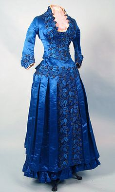 Beaded blue satin gown, ca 1885  Whitaker Auctions  Pretty shade of blue