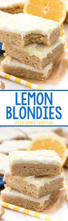 Lemon Blondies - this easy blondie recipe is FULL of lemon flavor and iced with an easy lemon frosting!
