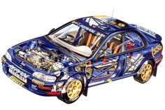 With a strong link to the world of motorsport, Subaru Impreza 555 is the one synonym for rally racing still active in rally competitions. Subaru Impreza Wrc, Subaru Rally, Rally Car, Cutaway, Sport Cars, Race Cars, Gt Turbo, Vw Gol, Japanese Cars