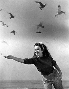 1945 Beach Sitting - Red Sweater - Norma Jeane par André De Dienes. Nord de Malibu, Californie.