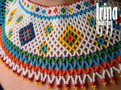 Hand-made by Irina Haluschak Seed Bead Necklace, Seed Bead Jewelry, Beaded Earrings, Seed Beads, Beaded Necklaces, Loom Bracelet Patterns, Bead Loom Bracelets, Inovative Ideas, Beaded Collar