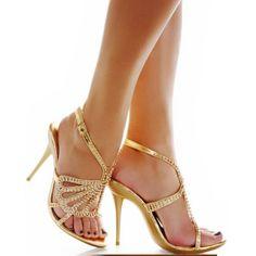 Gold Boho Wedding Bridal Evening Cocktail Party Stilettos Platform Shoes SKU-1090065
