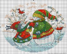 cross stitch snowmen