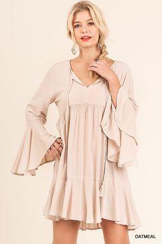 Bell Sleeve Peasant Dress - Oatmeal