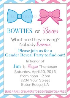 Bowties or Bows Gender Reveal Party Invitation / Gender Reveal Party Invitation / Gender Reveal Invitation Digital File 5x7. $10.99, via Etsy.