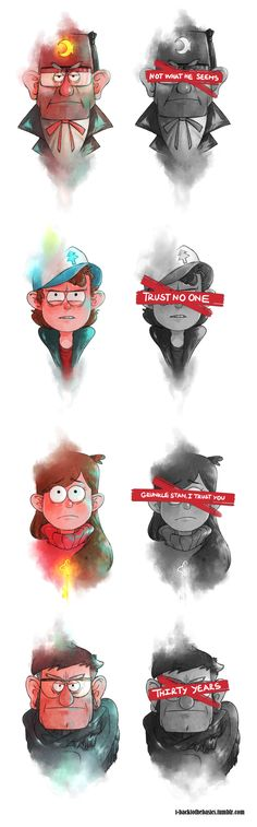 Traducción : Not what he seems=No es lo que pareces,  Trust no one=no confíes en nadie, Grunkle Stan, I Trust you=Tio Stan, confío en ti,   Thirty years:treinta años