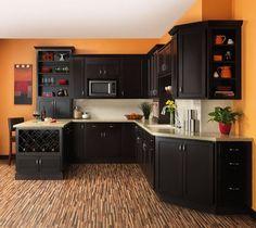 Orange Kitchen Wall Decoration and Dark Furniture in Modern Kitchen Cabinets Ideas for Storage Elegant and Modern Kitchen Cabinets Ideas for Storage