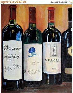 ON SALE Wine bottle painting, Opus one, Dominus and Staglin, limited edition Giclee print on canvas, kitchen art, gift for brother, gift for