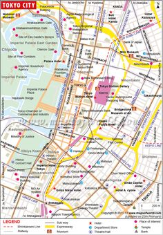 Tokyo Map - Map shows the location of tourist places, airports, hotels, roads, railways, rivers and highways.