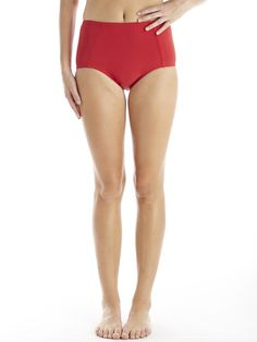 high waist in crimson #reyswimwear #modestswimsuit #highwaistbottoms #redswimsuit