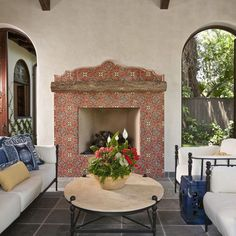 Outdoor tiled fireplace!