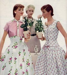 Summer dress fashions, 1950s. - and notice how everyone had a waist in the '50's!