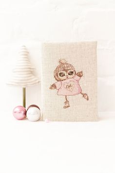 Owl notebook Embroidery cover Journal Christmas gift by Spoolville
