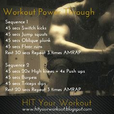 Workout 'Power Through'. AMRAP workouts are the best