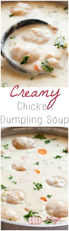 EASY and comforting Creamy Chicken and Dumpling Soup, 100% from scratch. Great for chilly fall evenings and snow days! || http://www.3boysunprocessed.com