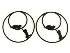 Playing Cats Hoop Earrings 50mm in Black Strong & Flexible