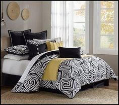 This woven collection of black and white geometric design makes a fun contemporary statement.