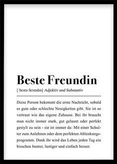 Beste Freundin Definition Geburtstagsgeschenk für Frauen DIY persönliches Geschenk Last Minute Freundschaft mit Spruch witziger Text