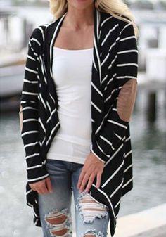 Black Striped Long Sleeve Irregular Fashion Cardigan